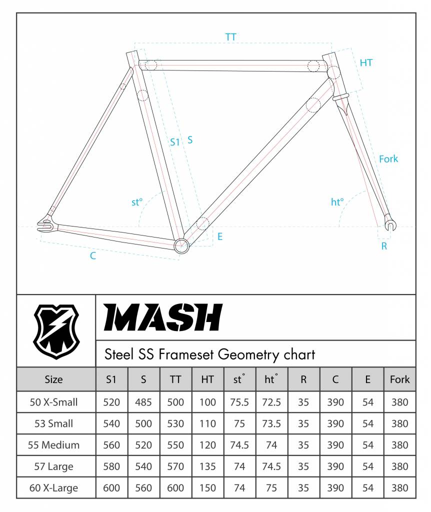 MASH Steel Frameset Black Chrome