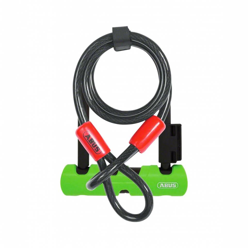 """ABUS Keyed U-Lock Ultra Mini 410 Plus Cobra Cable: 5.5"""" Shackle, Black"""