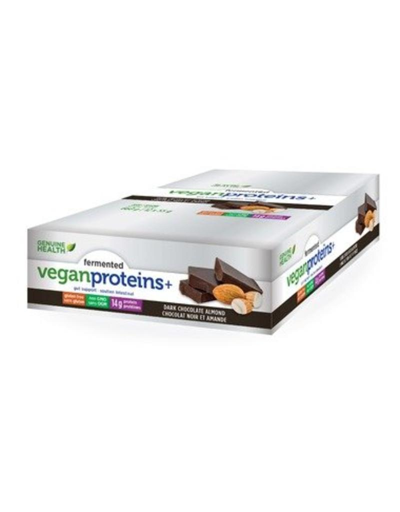 Genuine Health Fermented Vegan Protein Dark Chocolate Almond 12 bars
