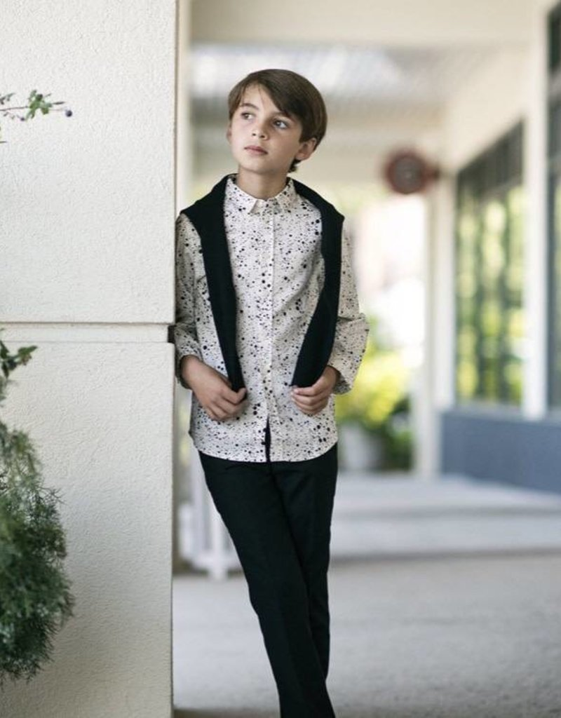 Petit clair Petit Clair Black Spotted Collared Shirt