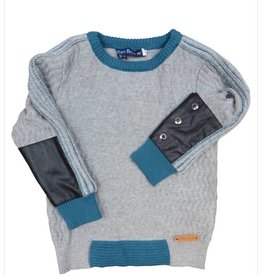 Euro Boys Teal/Leather Patch Sweater