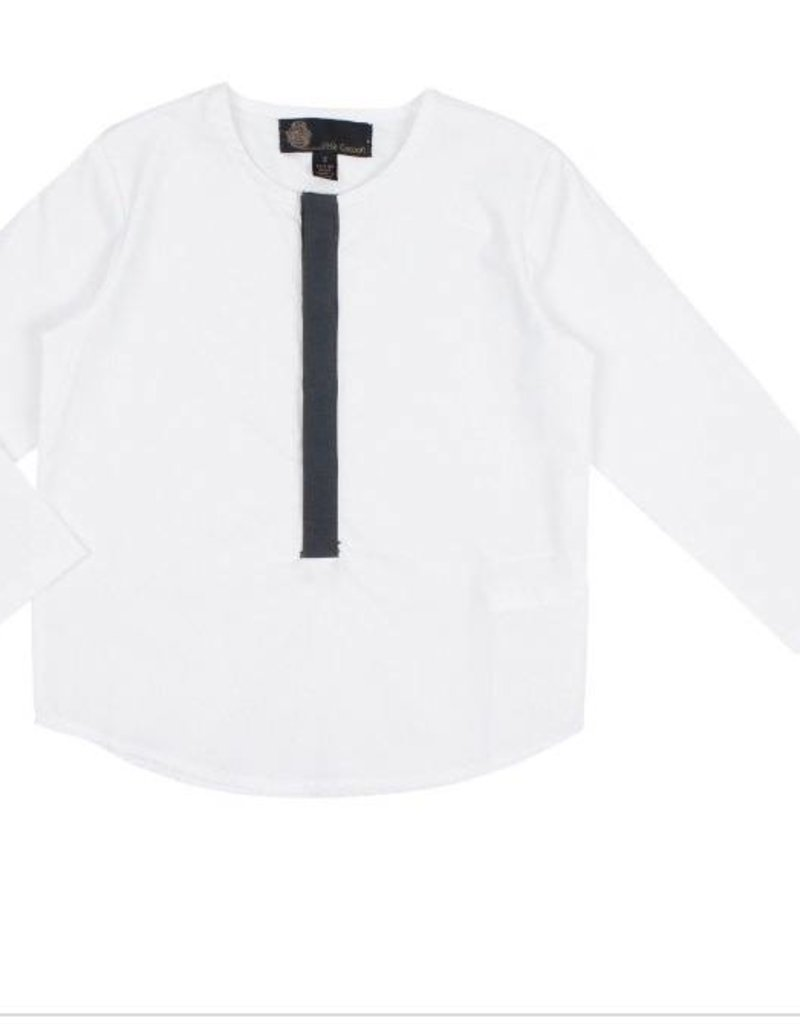 Little Cocoon White /Navy Covered Button Collared Shirt