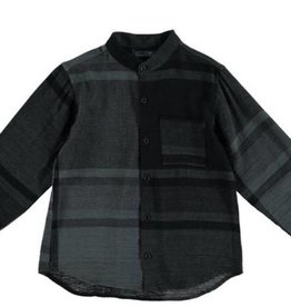 Tarantela Tarantella Black/Grey Checked Collarless Shirt