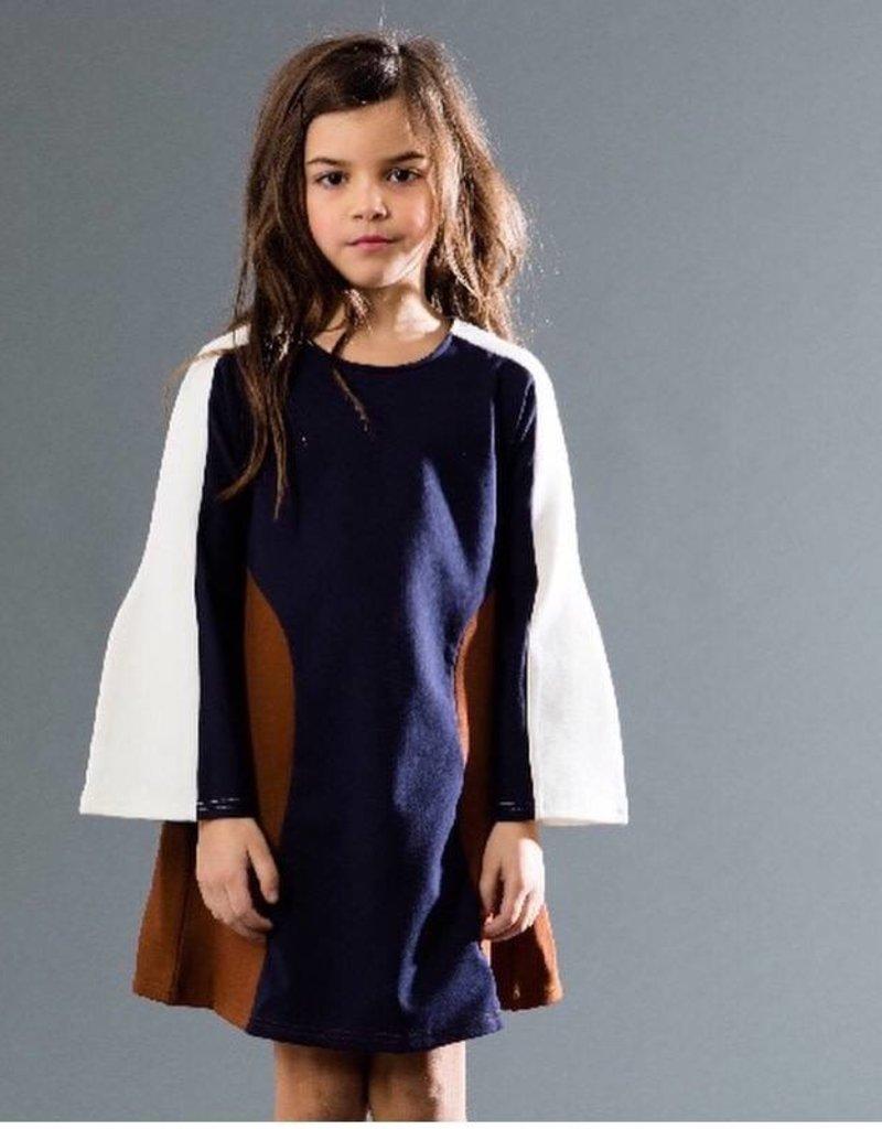 kipp Kipp Navy/Brown A-line Dress
