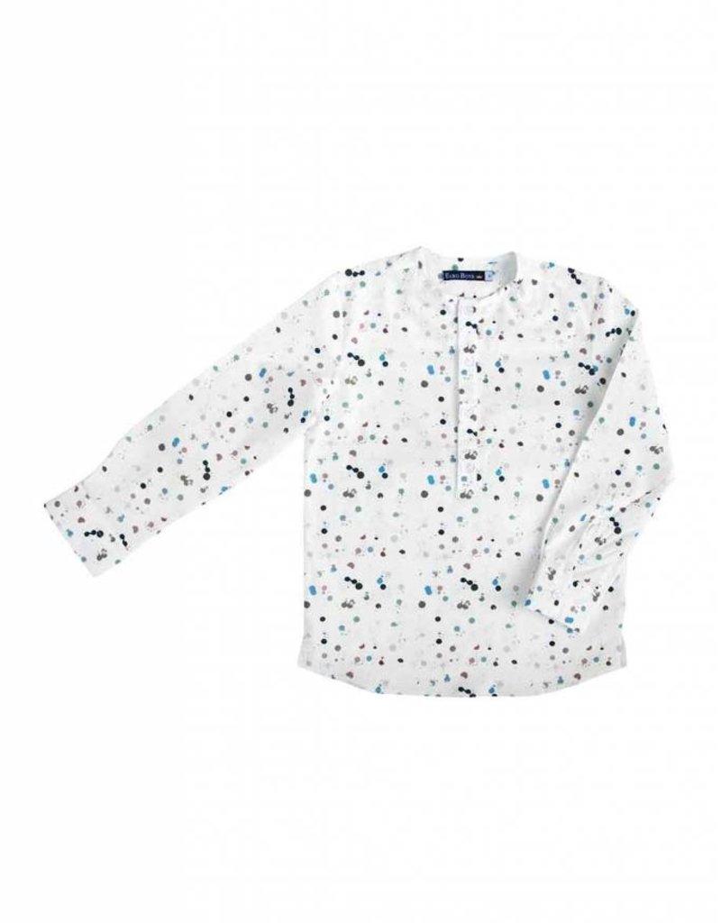 Euro Boys Multi Colored Dot Collarless Shirt