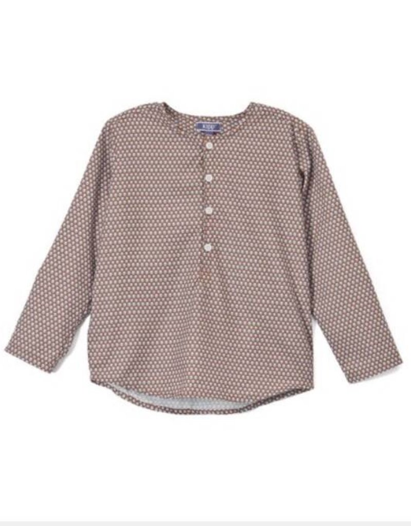 kipp Kipp Brown/Light Blue Spotted Collarles Shirt