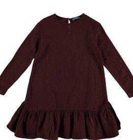 Tarantela Tarantela burgundy drop waist Ruffle Dress