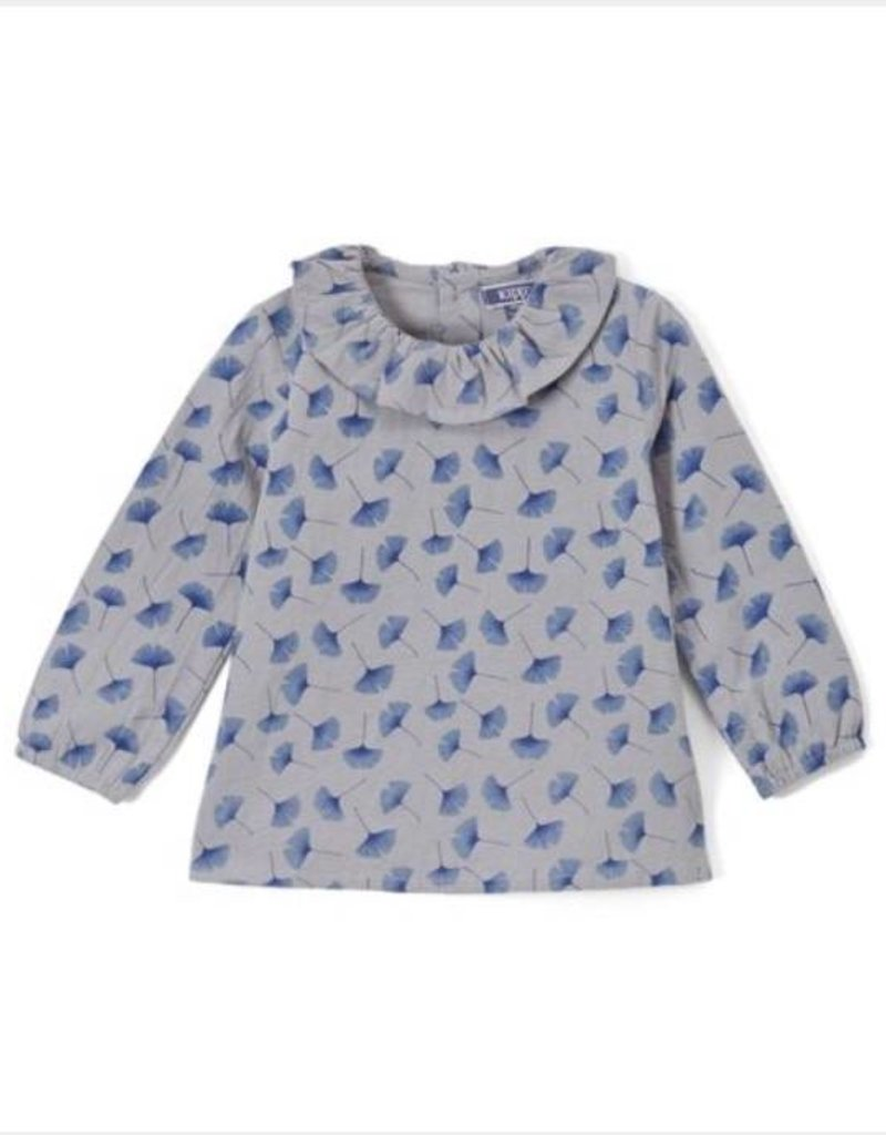 kipp Kipp grey shirt with blue petal