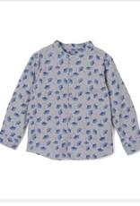 kipp Kipp Grey /Blue Petal Mandarin Collar Shirt