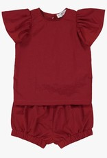 cocoblanc girls 2 pc ruffle set deep red