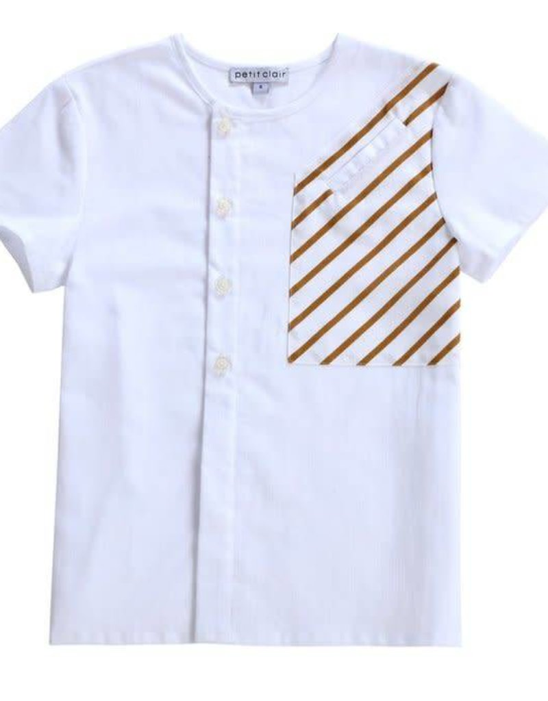 Petit clair Petit Clair white and caramel stripe shirt