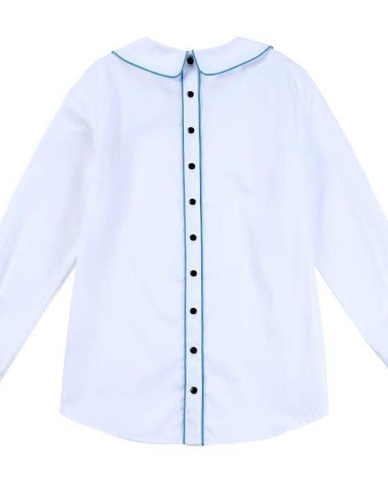 Petit clair petit clair white button back blouse