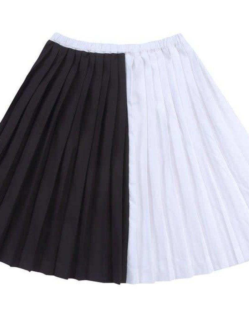 Petit clair petit clair black & white contrast skirt