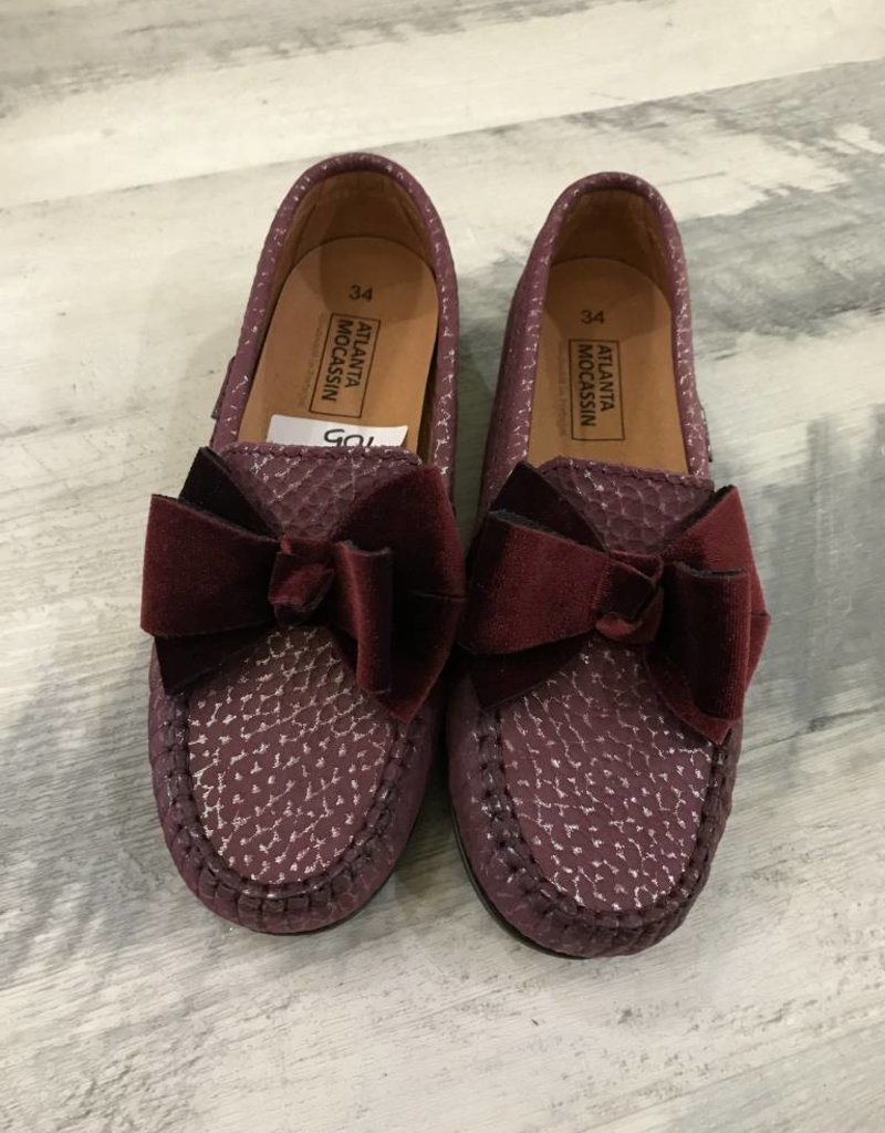 Atlanta Mocassin Burgundy Bow