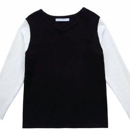 Petit clair Petit clair Boys Black and Ivory Contrast Sweater