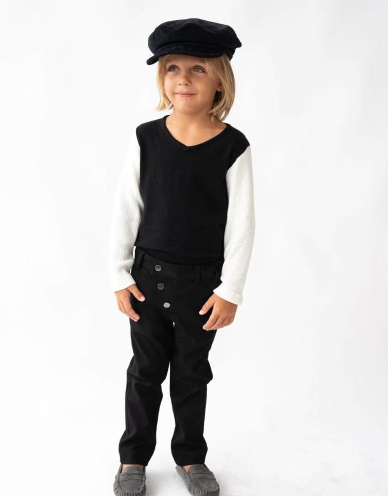Petit clair Boys Black and Ivory Contrast Sweater