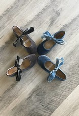 Childrenchic Childrenchic Ribbon Vlvt Grey Ballerina Shoe