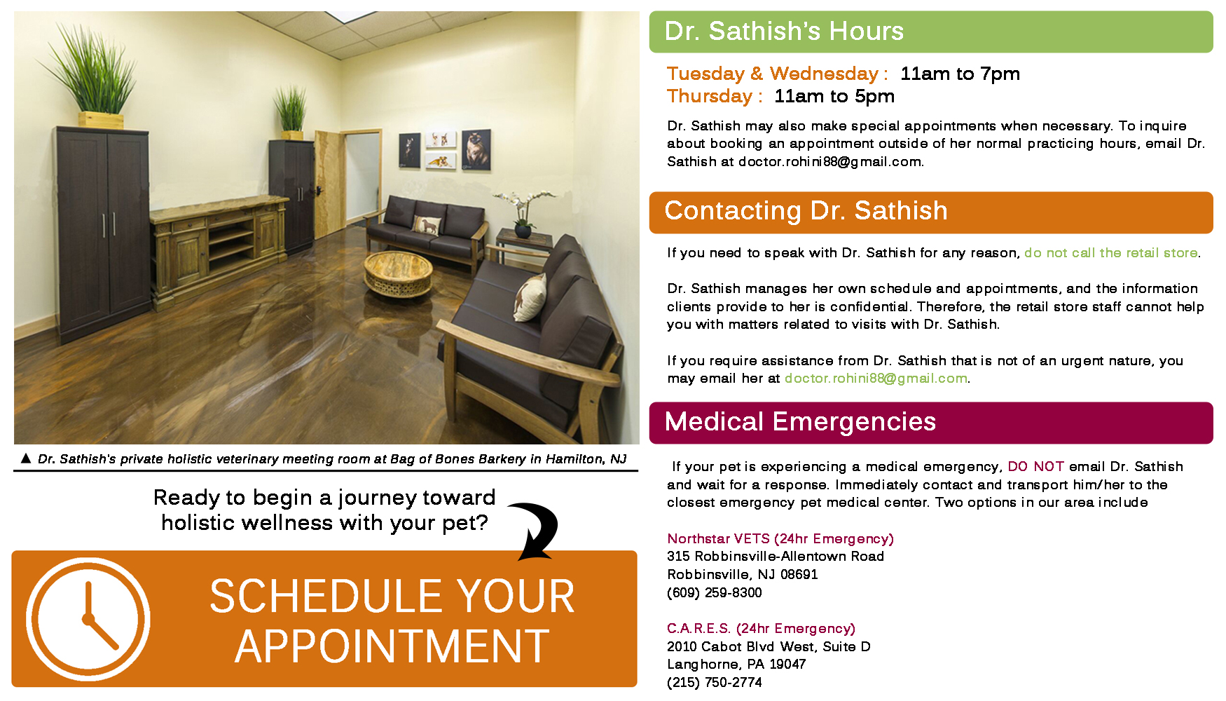 Dr. Sathish's Hours & Contact Info