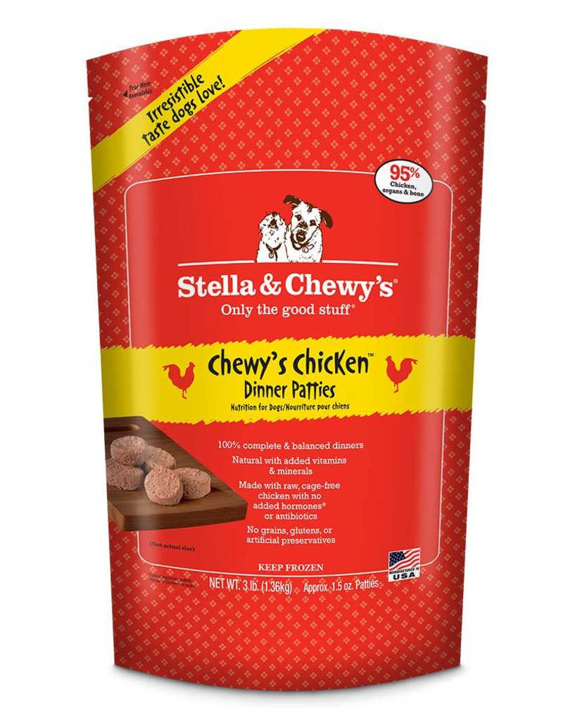 stella chewy s frozen raw chicken patties for dogs bag of bones