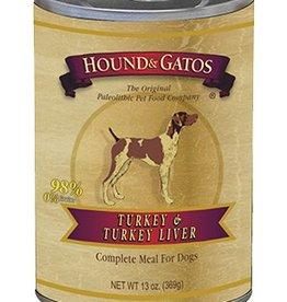 HOUND & GATOS Hound & Gatos Turkey/Turkey Liver 13oz Canned Dog Food (Case of 12)