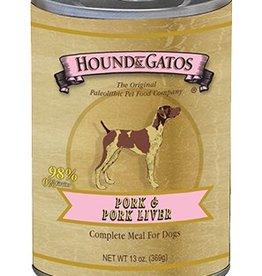 HOUND & GATOS Hound & Gatos Pork/Pork Liver 13oz Canned Dog Food (Case of 12)