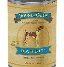 HOUND & GATOS Hound & Gatos 98% USA Rabbit 13oz Canned Dog Food (Case of 12)