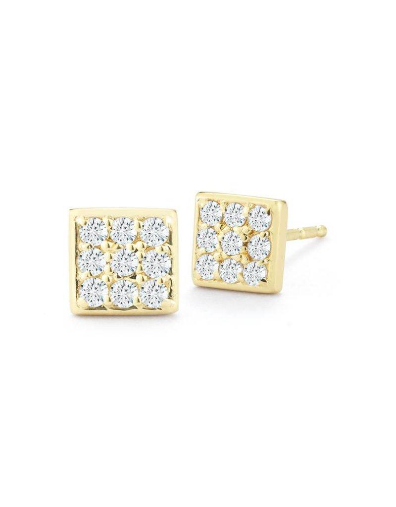 14ky Diamond Square Earrings