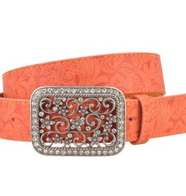 Floral Rhinestone Buckle Orange Leather Belt 1864