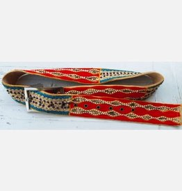 Art Studio Striped Red Large Sequined Belt 4179