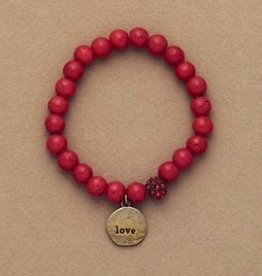 Bops Red Beaded Bracelet with Love Charm