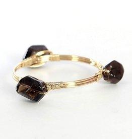 elly preston Black Lauren Natural Stone Bangle Bracelet
