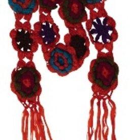 Orange Crocheted Flower Scarf