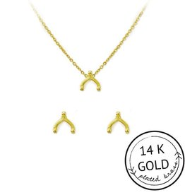 """Kitsch """"Wish Me Luck""""  Gold Plated Brass WIshbone Necklace Set"""