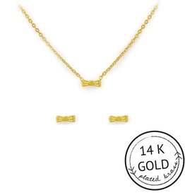 """Kitsch """"So Fancy"""" Gold Plated Brass Bow Necklace Set"""