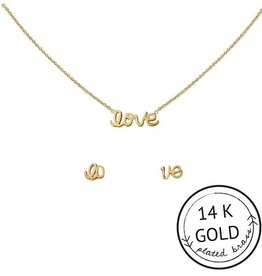 """Kitsch """"With Love"""" Gold Plated Brass LOVE Necklace Set"""