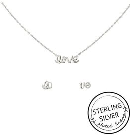 """Kitsch """"With Love"""" Silver Love Necklace Set"""