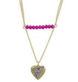 Jane Mari Two-Row Fuschia Bar & Heart Charm Necklace