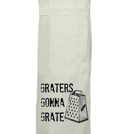 """Twisted Wares Flour Sack Tea Towel """"Graters Gonna Grate"""""""