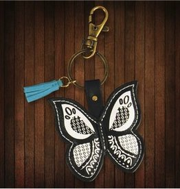 Karma Black and White Butterfly Keychain