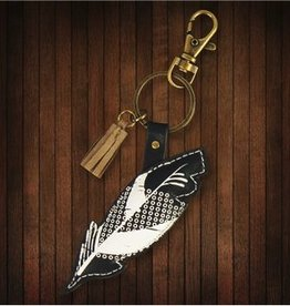 Karma Blacka and White Feather Keychain