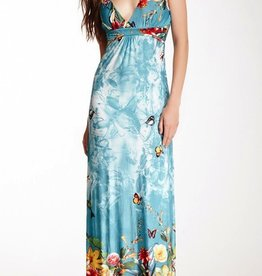 Papillion Hawaiian Print Maxi Dress