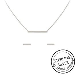 """Kitsch Sterling Silver  or Gold """"Connected"""" Bar Necklace and Earring set"""
