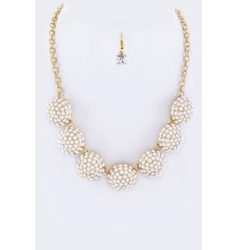 Paved Stone Semi-spheres Statement Necklace Set IVORY 17 inch chain