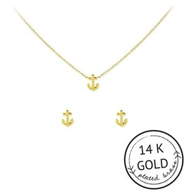 Anchor Charm Necklace Earring Set in Gold