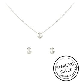 Anchor Charm Necklace Earring Set In Silver