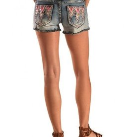 Grace In LA  Aztec Pocket Denim Shorts