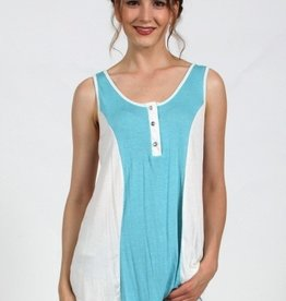 Vocal Basic Tank Top with Rhinestone Buttons