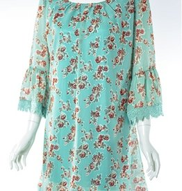 Lady Noiz Aqua and Pink Floral Tunic with Print