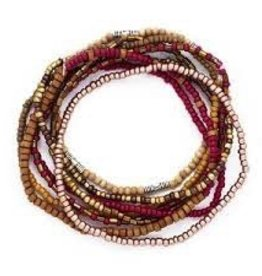 Bops Seed Bead Stackable Bracelet Set- Red and Browns