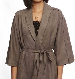 POL Charcoal Solid Body Suede Open Cardigan